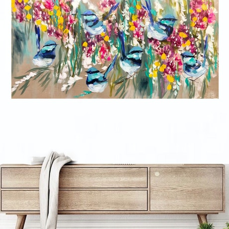 (CreativeWork) Blue wrens and rainbow gum blossoms  by Amanda Brooks. Acrylic Paint. Shop online at Bluethumb.