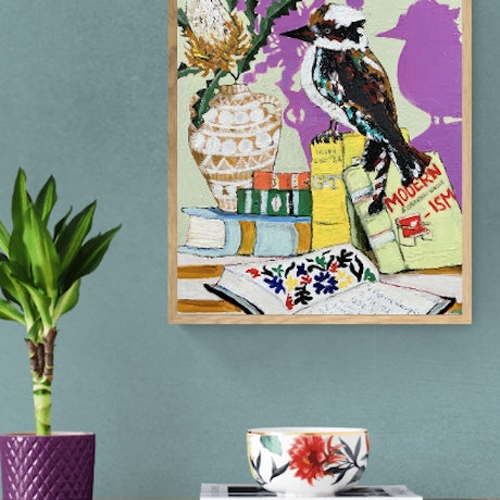 (CreativeWork) The Bookish Bird (Banksia, Books and Kookaburra)     by Emilie Maguin. Mixed Media. Shop online at Bluethumb.
