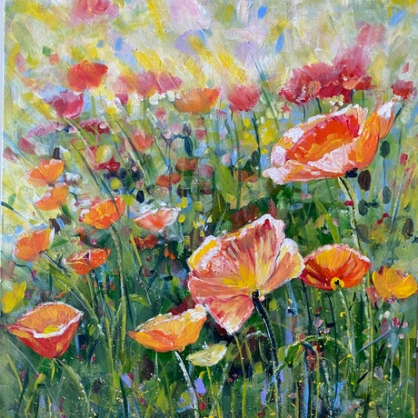 (CreativeWork) Poppies in the Afternoon Sun by Sue Burton. Acrylic Paint. Shop online at Bluethumb.