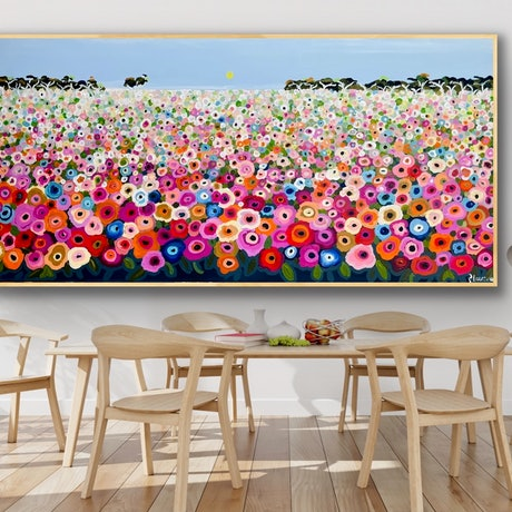 (CreativeWork) Happy memories 208x106 framed large textured landscape by Sophie Lawrence. Acrylic Paint. Shop online at Bluethumb.
