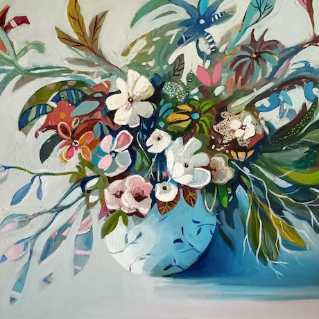 (CreativeWork) Abstract Still Life - Bunch of Flowers by Susan Trudinger. Acrylic Paint. Shop online at Bluethumb.