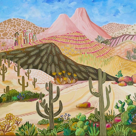 (CreativeWork) Saguaro Country - Desert abstract landscape - Cactus art by Daniela Fowler. Acrylic Paint. Shop online at Bluethumb.