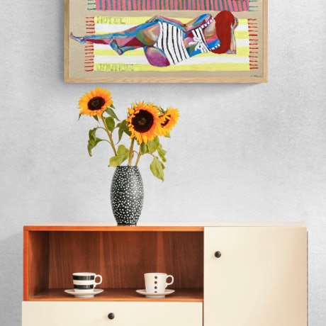 (CreativeWork) Sunbathers by Emilie Maguin. Mixed Media. Shop online at Bluethumb.