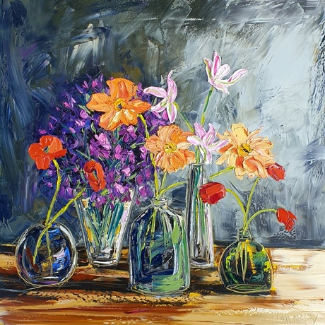 (CreativeWork) Flowers In Vases by Angela Hawkey. Oil Paint. Shop online at Bluethumb.