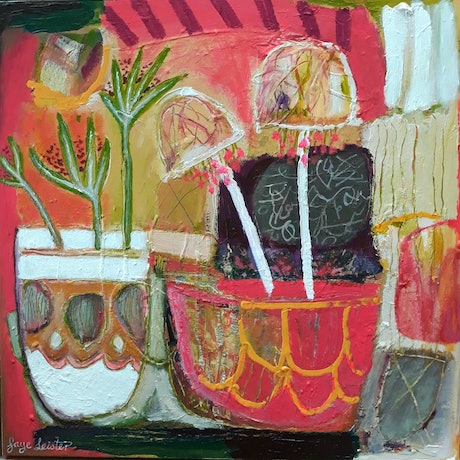 (CreativeWork) Flower Pot Fiesta by Faye Leister. Acrylic Paint. Shop online at Bluethumb.