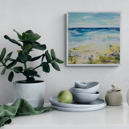 (CreativeWork) Beachcomber - Small beach painting by Amber Gittins. Acrylic Paint. Shop online at Bluethumb.