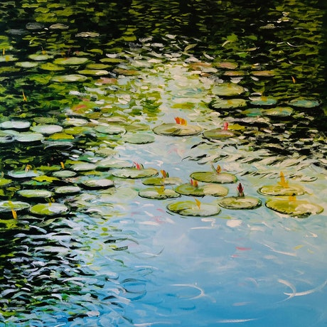 (CreativeWork) Lilies In Green by Shabs Beigh. Acrylic Paint. Shop online at Bluethumb.