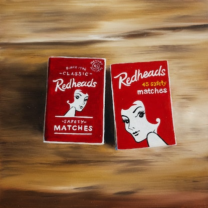 (CreativeWork) A Pair of Hot Redheads by Sarah Park. Oil Paint. Shop online at Bluethumb.