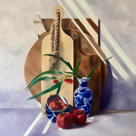 (CreativeWork) The Platter Project  by Mia Laing. Oil Paint. Shop online at Bluethumb.