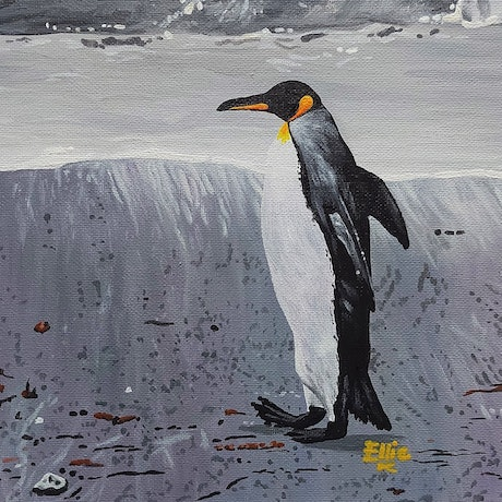 (CreativeWork) A prompt penguin by Ellie Biggs. Acrylic Paint. Shop online at Bluethumb.