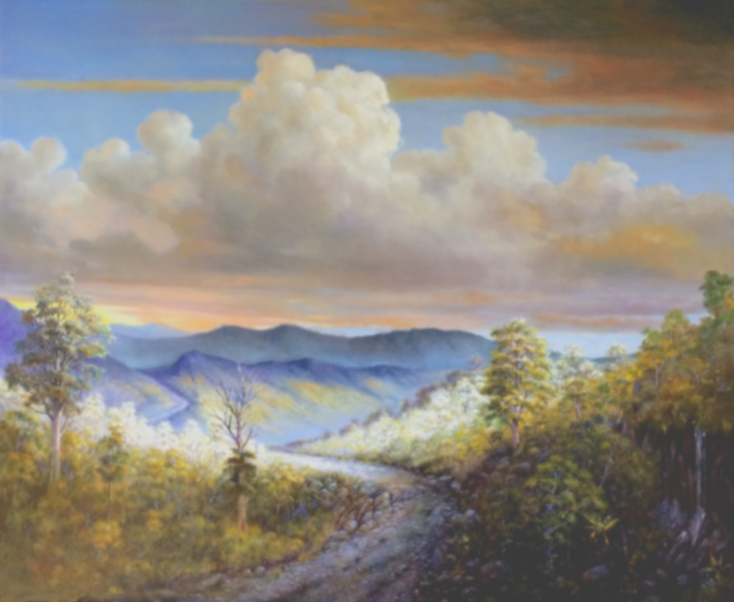 (CreativeWork) Later afternoon looking West from Mt. Tamborine  (#2235) by Jos Kivits. Oil Paint. Shop online at Bluethumb.