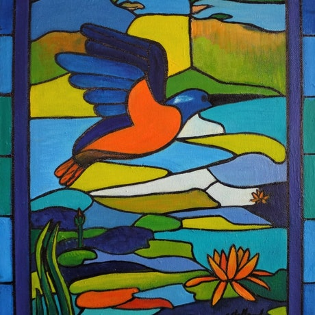 (CreativeWork) Stained Glass Window  by Glenise Clelland. Oil Paint. Shop online at Bluethumb.