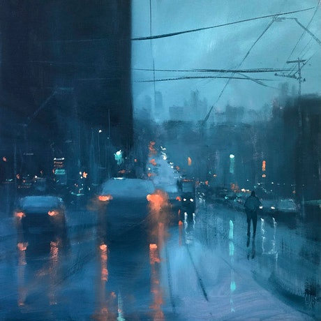 (CreativeWork) Melbourne from Riversdale - rainy cityscape by Mike Barr. Acrylic Paint. Shop online at Bluethumb.