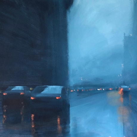(CreativeWork) City Deluge - rainy cityscape by Mike Barr. Acrylic Paint. Shop online at Bluethumb.