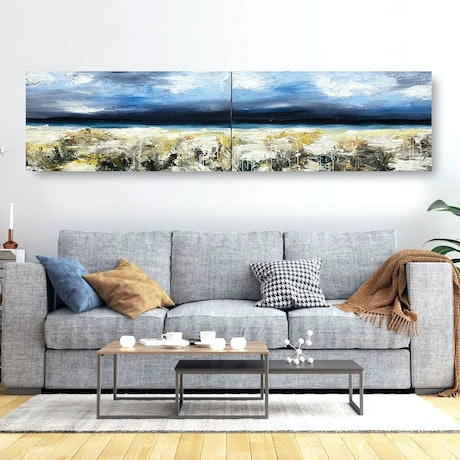 (CreativeWork) Omura No. 1 & No. 2 (Diptych) by Melanie Crawford. Acrylic Paint. Shop online at Bluethumb.
