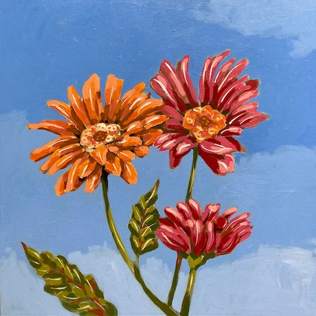 (CreativeWork) Flowers 3 by sara bell. Acrylic Paint. Shop online at Bluethumb.