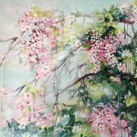 (CreativeWork) Blossom Calling.  Large Painting by Leanne Manns. Acrylic Paint. Shop online at Bluethumb.