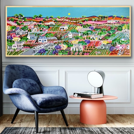 (CreativeWork) Olive grove wine country 157x67 framed large detailed landscape by Sophie Lawrence. Acrylic Paint. Shop online at Bluethumb.