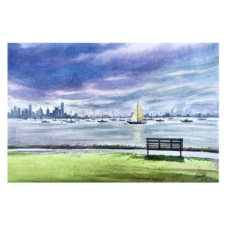 (CreativeWork) Williamstown by Scott (Shi) Guo. Watercolour Paint. Shop online at Bluethumb.