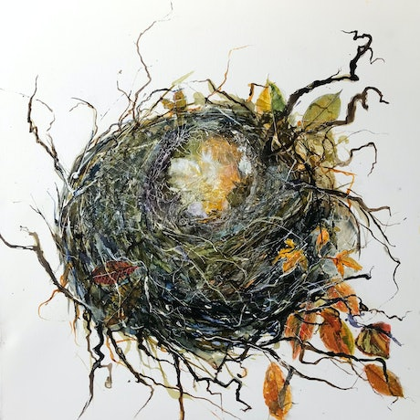 (CreativeWork) The Lonely Nest by Meg Lewer. Acrylic Paint. Shop online at Bluethumb.
