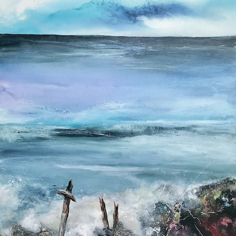(CreativeWork) The Lonely Pier by Meg Lewer. Acrylic Paint. Shop online at Bluethumb.