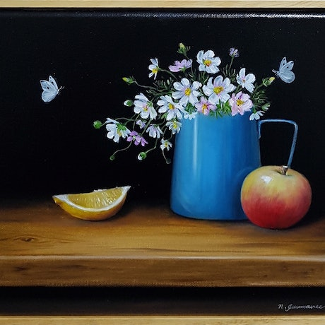 (CreativeWork) Still life with Apple and lemon by Natasha Junmanee. Oil Paint. Shop online at Bluethumb.