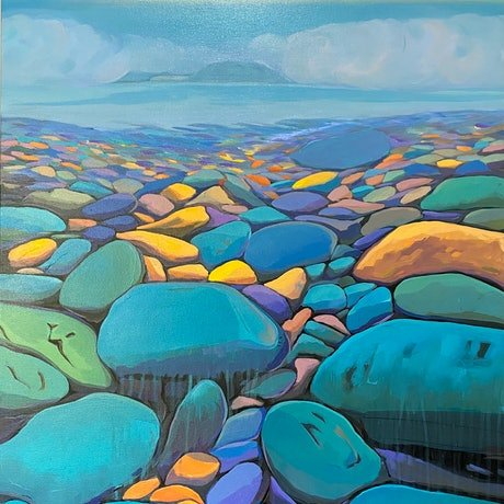 (CreativeWork) Turquoise Beach by Sarika Sriwong-rach. Acrylic Paint. Shop online at Bluethumb.