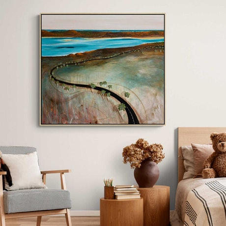 (CreativeWork) Sunset Road  101X91cm Large Textured Abstract Landscape by Tania Chanter. Acrylic Paint. Shop online at Bluethumb.