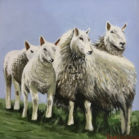 (CreativeWork) FOUR CHEVIOTS by LOUISE GROVE WIECHERS. Acrylic Paint. Shop online at Bluethumb.