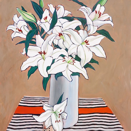 (CreativeWork) Lilies in White Vase by Andrea Leaver. Acrylic Paint. Shop online at Bluethumb.
