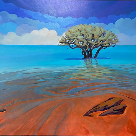 (CreativeWork) Where The Desert Meets The Sea by Sarika Sriwong-rach. Acrylic Paint. Shop online at Bluethumb.