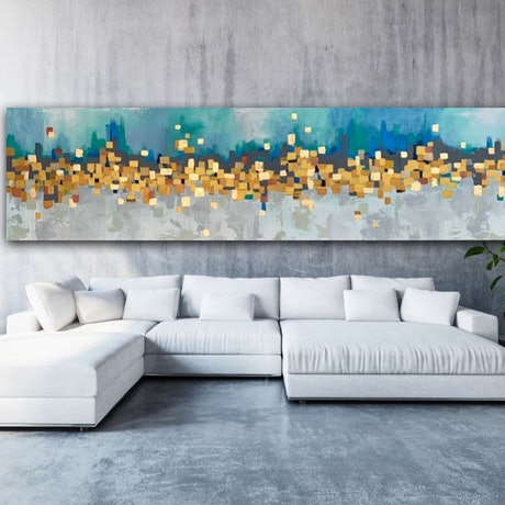 (CreativeWork) Golden Lights by Tom Roso. Acrylic Paint. Shop online at Bluethumb.