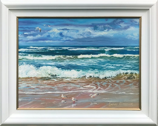 (CreativeWork) Surf at 42 Mile Crossing, SA by Lindsay Kilminster. Oil Paint. Shop online at Bluethumb.
