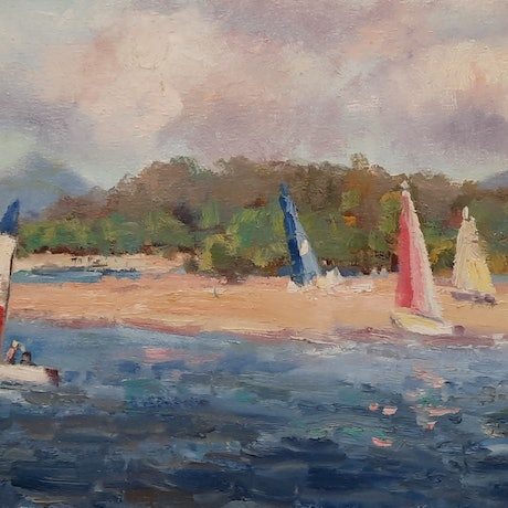(CreativeWork) Sailing at Cotton Tree. Maroochydore. Qld by Barry Back. Oil Paint. Shop online at Bluethumb.