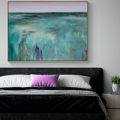 (CreativeWork) Peninsula Tide 122X92CM Large Textured Abstract Landscape by Tania Chanter. Acrylic Paint. Shop online at Bluethumb.