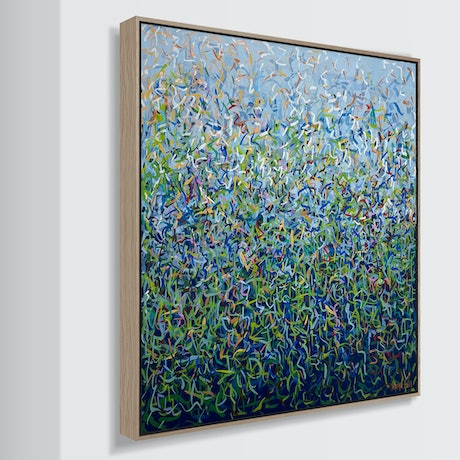 (CreativeWork) Toorak Garden Four Framed - 69cm squ- acrylic painting on canvas by George Hall. Acrylic Paint. Shop online at Bluethumb.