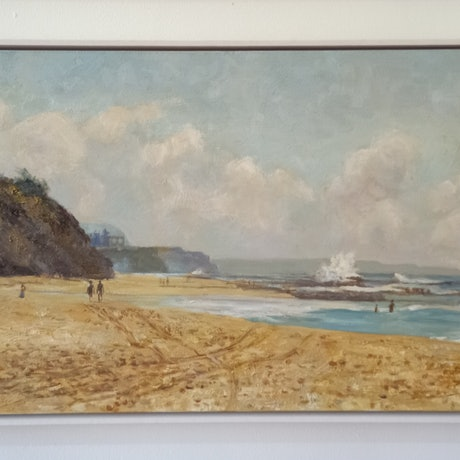 (CreativeWork) Thirroul Beach NSW looking North. South Coast. (1135) by Marc Poisson. Oil. Shop online at Bluethumb.
