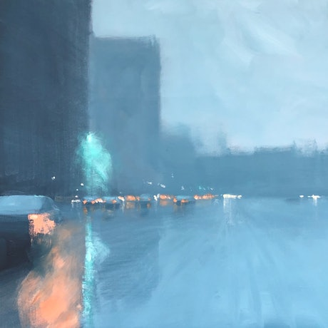(CreativeWork) Rain Highway - rainy cityscape by Mike Barr. Acrylic Paint. Shop online at Bluethumb.