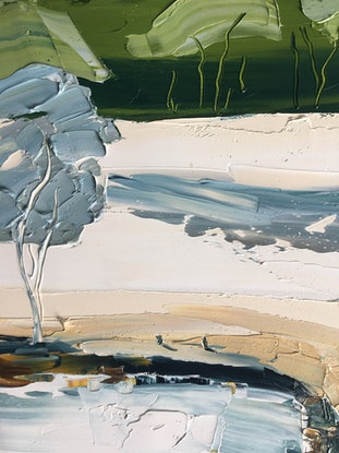 (CreativeWork) Meet me at the waterhole No.2 by Michelle Keighley. Oil Paint. Shop online at Bluethumb.