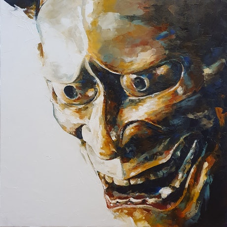 (CreativeWork) Hannya by Tim Holiday. Oil. Shop online at Bluethumb.