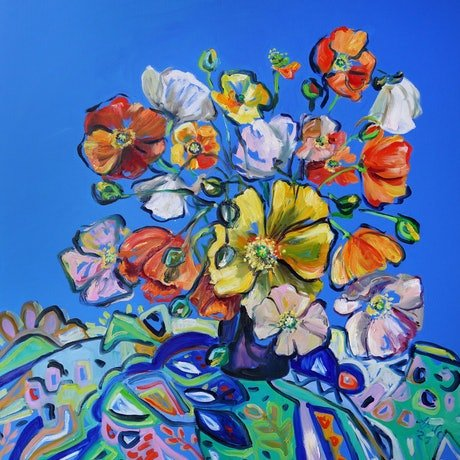 (CreativeWork) Summer Blue and Poppies by Katerina Apale. Oil Paint. Shop online at Bluethumb.