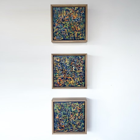 (CreativeWork) Harvest Framed- Triptych- Set of 3- 23cm each by George Hall. Acrylic Paint. Shop online at Bluethumb.