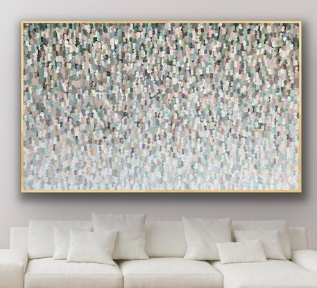 (CreativeWork) Little creatures 208x128 framed large textured abstract by Sophie Lawrence. Acrylic Paint. Shop online at Bluethumb.