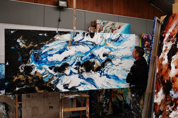 (CreativeWork) Cobalt Reign 270cm x 120cm Black Gold Blue White Abstract Textured Acrylic Gloss Finish FRANKO by _Franko _. Acrylic. Shop online at Bluethumb.