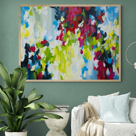 (CreativeWork) Flowing Rainbows - large colourful abstract painting by Amber Gittins. Acrylic Paint. Shop online at Bluethumb.