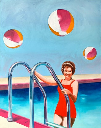 A woman in a swimming pool with three beach balls in the air