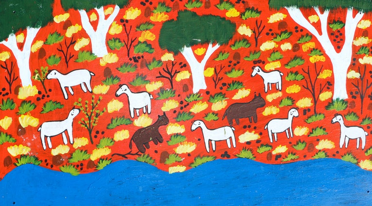 (CreativeWork) Goats and Cows by Lindy Brodie. Acrylic Paint. Shop online at Bluethumb.