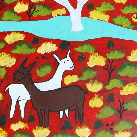 (CreativeWork) Goat and Cow by Lindy Brodie. Acrylic Paint. Shop online at Bluethumb.