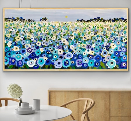 (CreativeWork) Happy memories in blue 157x80 framed large textured landscape by Sophie Lawrence. Acrylic Paint. Shop online at Bluethumb.