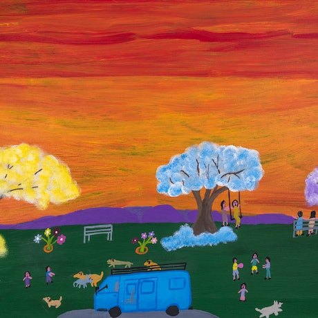 (CreativeWork) Children Running Around with Dogs by Lindy Brodie. Acrylic Paint. Shop online at Bluethumb.